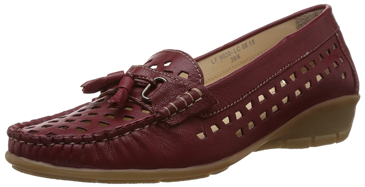 Women's Red Leather Loafers and Mocassins - 6 UK
