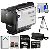 Sony Action Cam FDR-X3000 Wi-Fi GPS 4K HD Video Camera Camcorder with 64GB Card + Battery + Case + Tripod + Kit (Color: White)