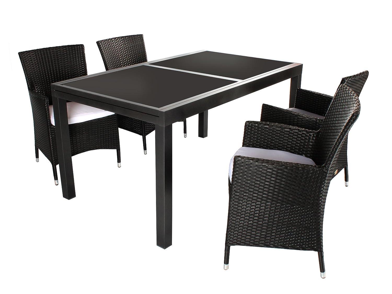 5tlg. Sitzgruppe Varese Aluminium Ausziehtisch ca. 150/210 x 90 cm anthrazit, Polyrattan Sessel schwarz günstig online kaufen