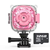 AKAMATE Kids Action Camera Waterproof Video Digital Children Cam 1080P HD Sports Camera Camcorder for Boys Girls, Build-in 3 Games, 32GB SD Card (Pink) (Color: Pink)