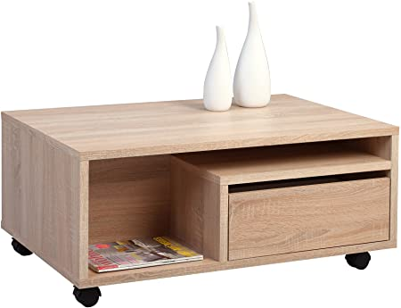 HomeTrends4You 213042 Couchtisch, MDF Dekor, Sonoma Eiche, 90 x 60 x 40 cm