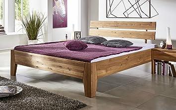 Bett Doppelbett 'Emilia' Wildeiche geölt 180x200cm massiv Holz