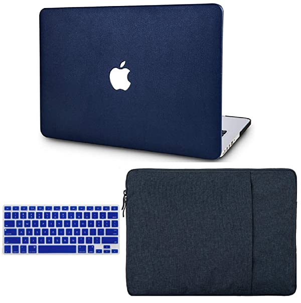 KECC Laptop Case for Old MacBook Pro 13 Retina (2015-) w/Keyboard Cover + Sleeve Italian Leather Case A1502/A1425 3 in 1 Bundle (Dark Blue Leather) (Color: Dark Blue Leather + Sleeve + Keyboard Cover, Tamaño: A1502/A1425 Old Mac Pro 13 Retina (-2015))
