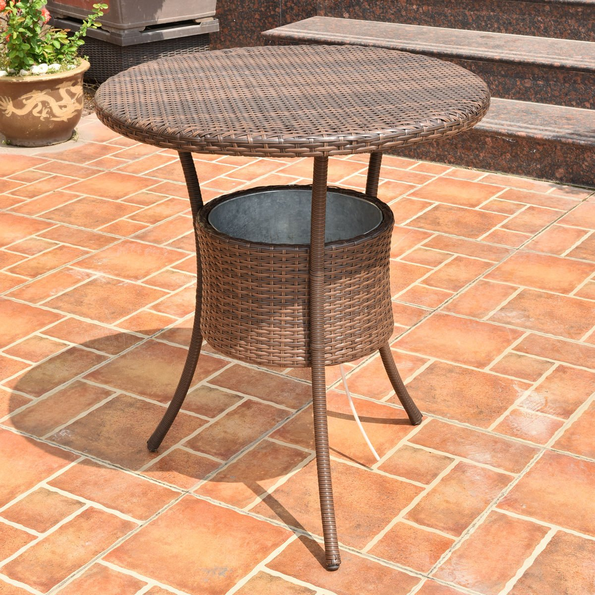 """31.5"""" Outdoor Rattan Patio Bar Table with Ice Cooler Bucket for your Drinks or Any Beverages, Weather Resistant, High Temperature Tolerant and UV Resistant"""
