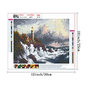 HaiMay 3 Pack DIY 5D Diamond Painting by Number Kits Full Drill Round Rhinestone Embroidery Pictures Arts Craft for Home Wall Decoration, Lighthouse(10 x 12 inch) (Color: Lighthouse)