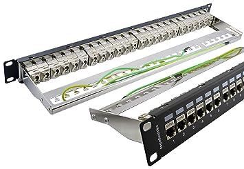 "Panneau de brassage Cat. 6a 24 ports FTP 19"" Noir avec module Keystone"