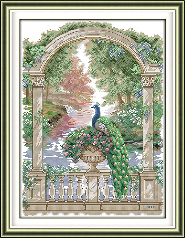 Joy Sunday Cross Stitch Kits 11CT Stamped Green Peacock 18.1x23.6 or 46cmx60cm Easy Patterns Embroidery for Girls Crafts DMC Cross-Stitch Supplies Needlework Animal Series (Color: Green peacock)