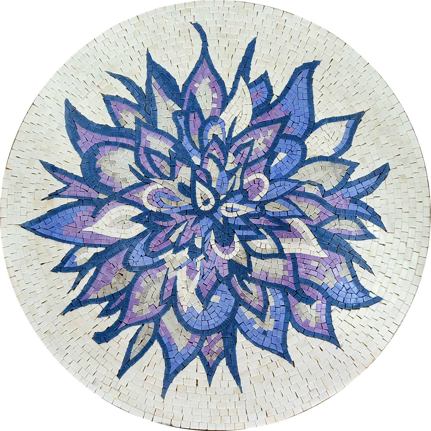 Hand Made Flowery Medallion Mosaic Pattern Stone Art Floor Wall Decor (70