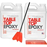 Crystal Clear Epoxy Resin -1 Gallon Epoxy kit -Coating for Tabletops, Bar Tops, Crafting - 2 Part Epoxy Resin - UV Protection & NO VOC - High-Gloss & Low-Odor (Color: Clear, Tamaño: 1 gallon)