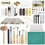 Leather Working Tools SIMPZIA 131PCS Leathercraft Tools with 20PCS Leather Stamping Tools, Cutting Mat, Stitching Groover, Prong Punch, Snaps and Rivets Kit, Leather Tooling Kit for DIY Leather Craft (Color: 131pcs Leather Tools)