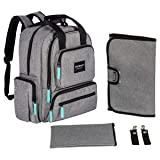 YavoBaby Diaper Bag Backpack - Large Capacity 18 Pocket Multi-Functional Unisex Travel Backpack - Durable and Stylish - Free Changing Pad, Stroller Straps, and Nursing Pouch - Gray w/Teal Tags (Color: Gray, Tamaño: Large)