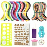 Anndason 23 in 1 Paper Quilling Set & 36 Colors 900 Strips (Gradient Color) + 36 Colors 720 Strips (Mix and Bright) and 10 Tools Quilling DIY & Paper Width 3mm (Color: blue)