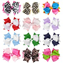 HipGirl Boutique Girls 12pc Set Large 4.5 Spike Hair Bow Clips Barrettes. In Gift Box