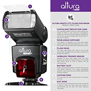 ALTURA PHOTO STUDIO PRO FLASH KIT PARA NIKON, DSLR Bundle con 2 piezas I-TTL Flash AP-N1001, Dual Wireless Flash Trigger Set y accesorios