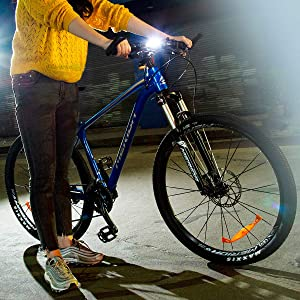 KEYWELL USB Rechargeable Bike Headlight-Super Bright LED Bicycle Front Light with Low Battery Indicator and Modes Memory Functions-Powerful Lumens for Cycling Safety Flashlight (White) (Color: White)