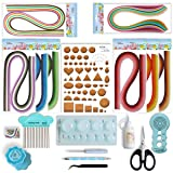 JUYA Paper Quilling Kit with Blue Tools 960 Strips Board Mould Crimper Coach Comb (Paper Width 3mm With Glue) (Color: Blue, Tamaño: Paper Width 3mm With Glue)