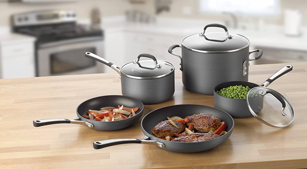 Calphalon Simply Calphalon Hard-Anodized Nonstick 8-Piece Cookware Set via Amazon