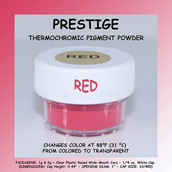 Prestige THERMOCHROMIC Pigment That Changes Color at 88°F (31 °C) from Colored to Transparent (Colored Below The Temperature, Transparent Above) Perfect for Color Changing Slime! (2g, RED) (Color: RED, Tamaño: 2g)