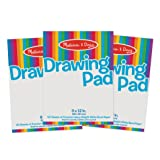 Melissa & Doug Drawing Paper Pad, 3-Pack of Large Drawing Pads, Pages Tear Cleanly, 50 Pages per Pack, 0.25