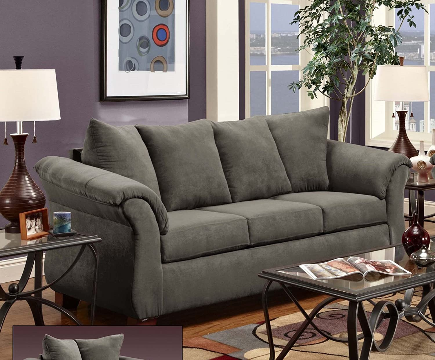 Chelsea Home Furniture Kiersten Sofa - Flatsuede Graphite
