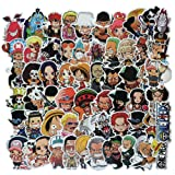 Homyu Stickers 60-Pcs PVC Anime Decals One Piece Anime Cartoon Waterproof Sunlight-Proof DIY Ideals for Cars Motorbikes Skateboard Spinner Luggages Laptops (Color: One Piece)