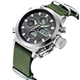 Mens Sport Digital Quartz Watches for Men Olive Canvas Military Waterproof Wrist Watch with Chronograph