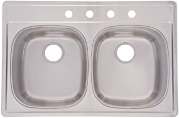 FrankeUSA DSK954-18BX Double Bowl Stainless Steel 33x22in. Topmount Sink