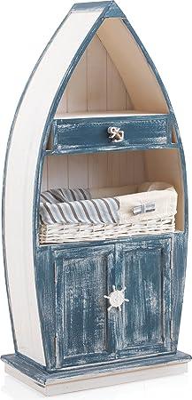 Estante infantil (en madera color blanco y azul 1cajón de madera 1cajón de mimbre 1estante fijo–Pozzolo