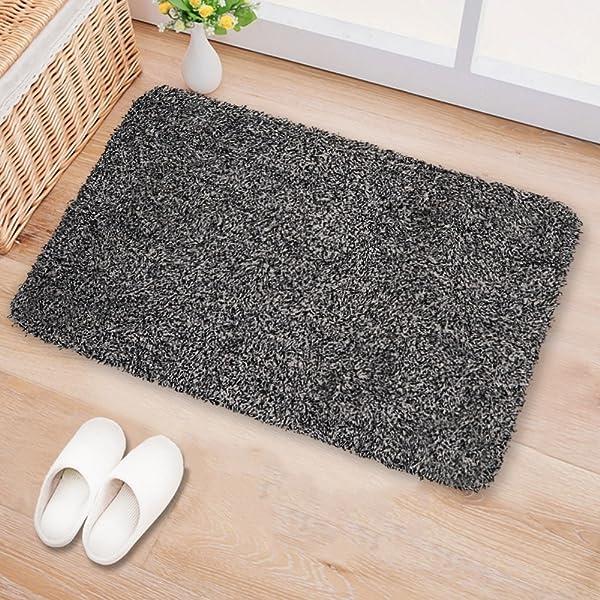 "BEAU JARDIN Small Indoor Doormat Absorbent Moisture PVC Backing Shoes Scraper Non Slip Door Mat for Front Door Inside Dirt Trapper Mats Cotton Entrance Mat 18""x28"" Machine Washable Black White Fiber"