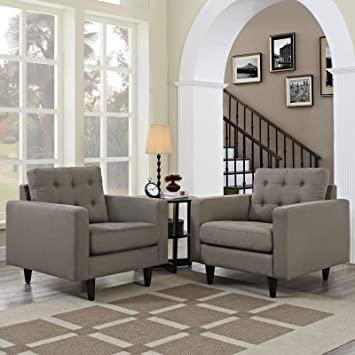 Empress Armchair Upholstered Set of 2, Granite