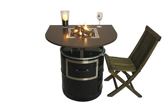 """'Table """"Lord pour le balcon, feu de cheminée chauffage Table, hiver, cheminée à gaz barbecue sur ölfass, aussi pour integrierbaren à barbecue en acier inoxydable"""
