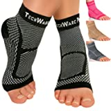 TechWare Pro Ankle Brace Compression Sleeve - Relieves Achilles Tendonitis, Joint Pain. Plantar Fasciitis Foot Sock Arch Support Reduces Swelling & Heel Spur Pain. Injury Recovery Sports (Color: Black, Tamaño: S / M (Women 4.0 - 7.0 / Men 3.0 - 6.5))