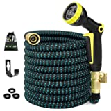50FT Expandable Garden Hose, Water Hose with 3/4 inch Solid Brass Fittings, 50' Expanding Hoses with Extra Strength Fabric, Outdoor Flexible Hose with Multi-Layer Latex Core, Lightweight Yard Hose (Color: Black Blue, Tamaño: 50ft)