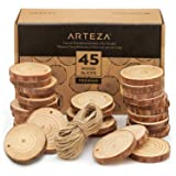 ARTEZA Wood Slices (45 Pieces) with Bark Natural Unfinished Pine 2.4