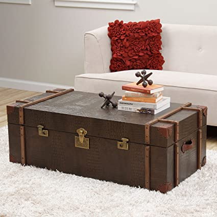 Metro Shop Journey Natural Croc-embossed Leather Trunk Coffee Table