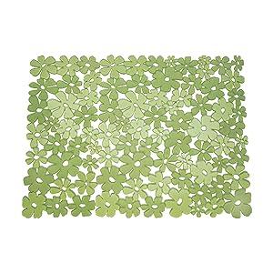 BlissHome - Alfombrilla con diseño de flores para pila (40 x 31 cm), color verde   revisión y más información