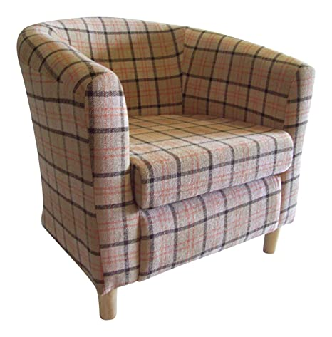 Luxury Traditional Shape Tub Chair In A Quality Fawn Tartan Fabric..Adult Size..Ideal For Any Room In The House