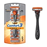 BIC Hybrid3 Comfort Men's Disposable Razor, 1 Handle 6 Cartridges (Color: W)