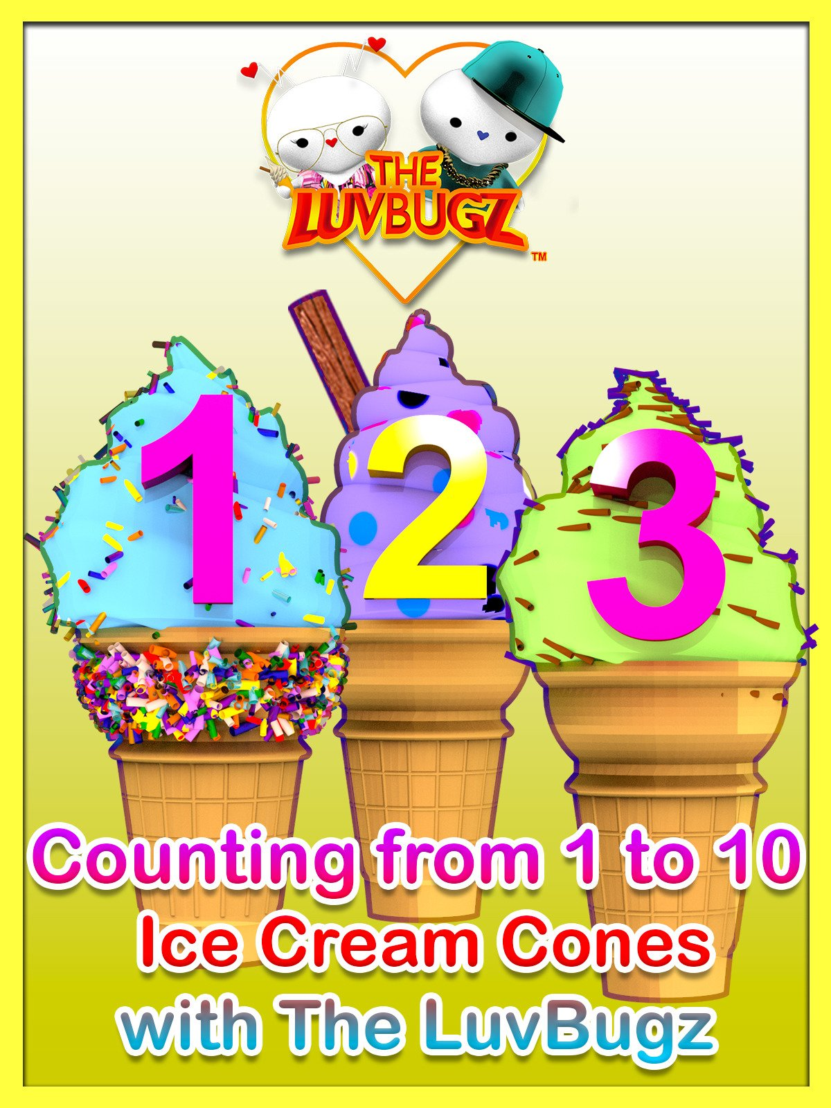 Counting from 1 to 10 Ice Cream Cones with The LuvBugz