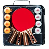 IntegraFun Ping Pong Paddle Set - 4 Player Table Tennis Paddles with 8 Balls and Paddle Case - Durable Rubber- Soft Bouncy Sponge- Ergonomic Grip - Training/Casual Play - Great Family Bonding Playset (Color: black and red)