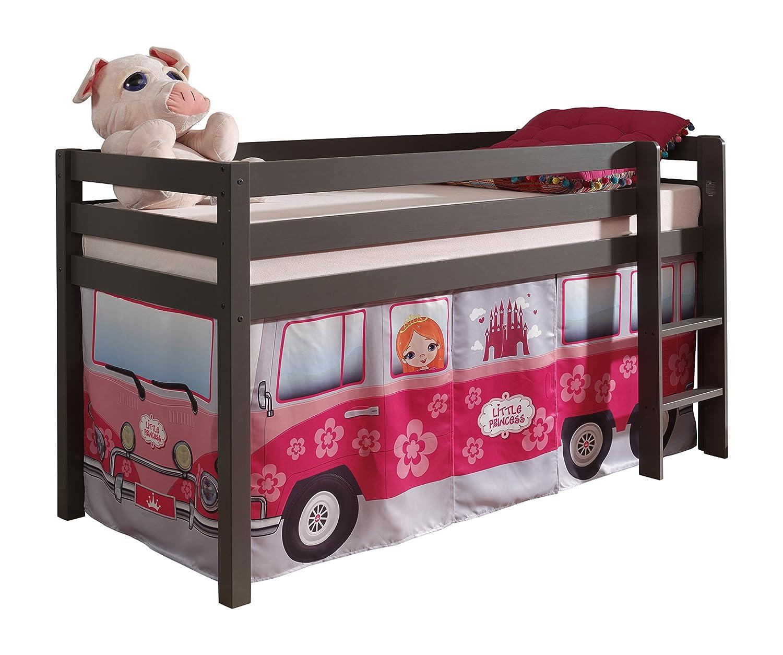"VIPACK PICOHSZG1571 Spielbett Pino mit Textilset ""Flower-Bus"", Maße 210 x 114 x 106 cm, Liegefläche 90 x 200 cm, Kiefer massiv taupe lackiert"