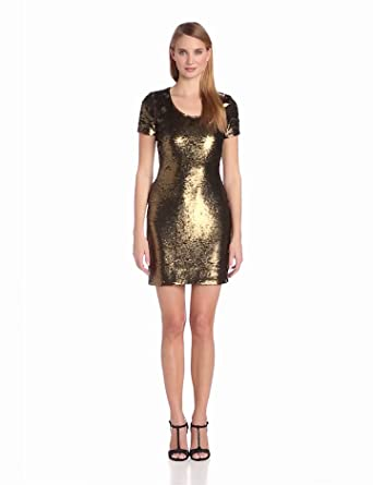 HALSTON HERITAGE Women's Short Sleeve Fitted All Over Sequin Dress, Bronze, 0