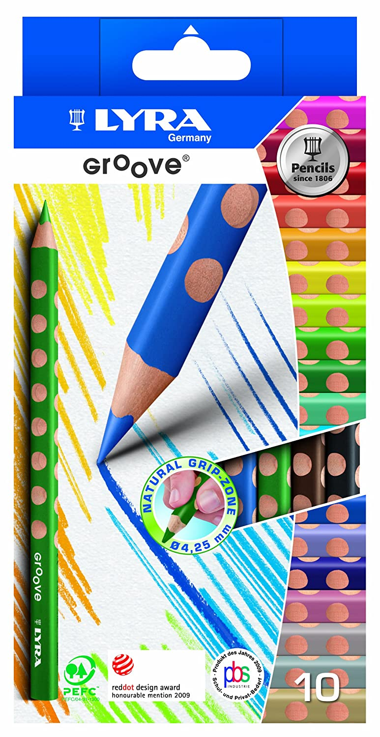 Groove Pencils by Lyra to develop good pencil grasp/grip and writing skills