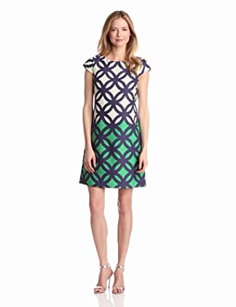 Gabby Skye Women's A Line Dress, Navy /Cream/Green, 4 Missy