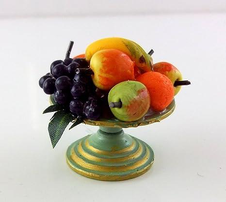Bol de Table Métal Avec Fruits Accessoire Miniature Maison Poupées Fait à la ...