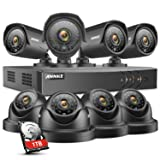 ANNKE 8CH Security System 1080N DVR Recorder with 1TB HDD and (8) HD 1.0MP 1280x720 Weatherproof Camera with Super Night Vision, QR Code Scan, Plug & Play, HDMI Output