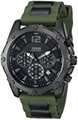 GUESS Men's U0167G4 Sporty Chronograph Watch on a Comfortable Green Silicone Strap with Date Function:Amazon:Watches