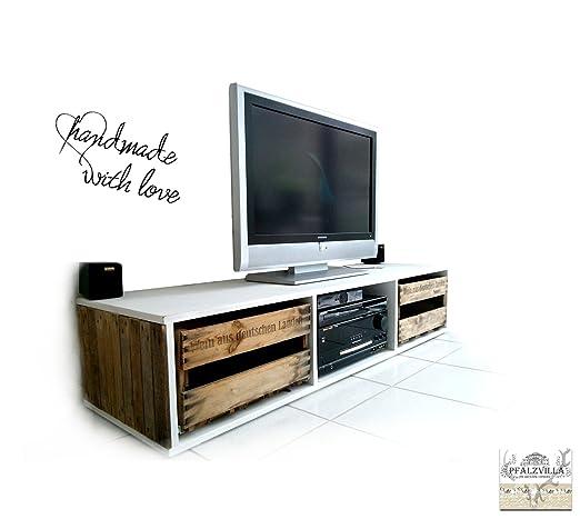 Mueble bajo para TV reciclado, de cajas de vino que ya no se usan, de Pfalzvilla, madera vieja, color blanco, similar a los muebles hechos con palés