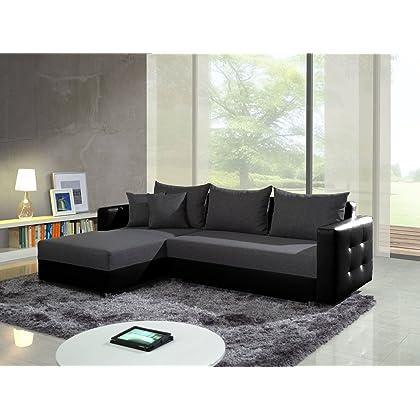 Elegantes Ecksofa mit Bettfunktion & Bettkasten Sofa Couch Ledersofa UNSCHLAGBAR günstig!!! (schwarz/Bronco-18) günstig