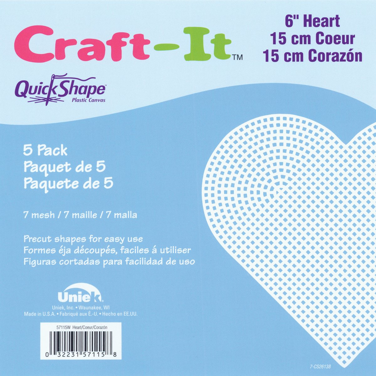 Cottage Mills 57115 QuickShape Heart Shape Plastic Canvas, 6-Inch, Clear, 5-Pack